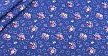 Синій набір лоскутов сатину для рукоділля з квітковим малюнком - 8 відрізів 40*50 см, фото 9