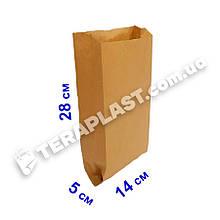 Бумажные пакеты для хлеба саше бурые 140х50х280