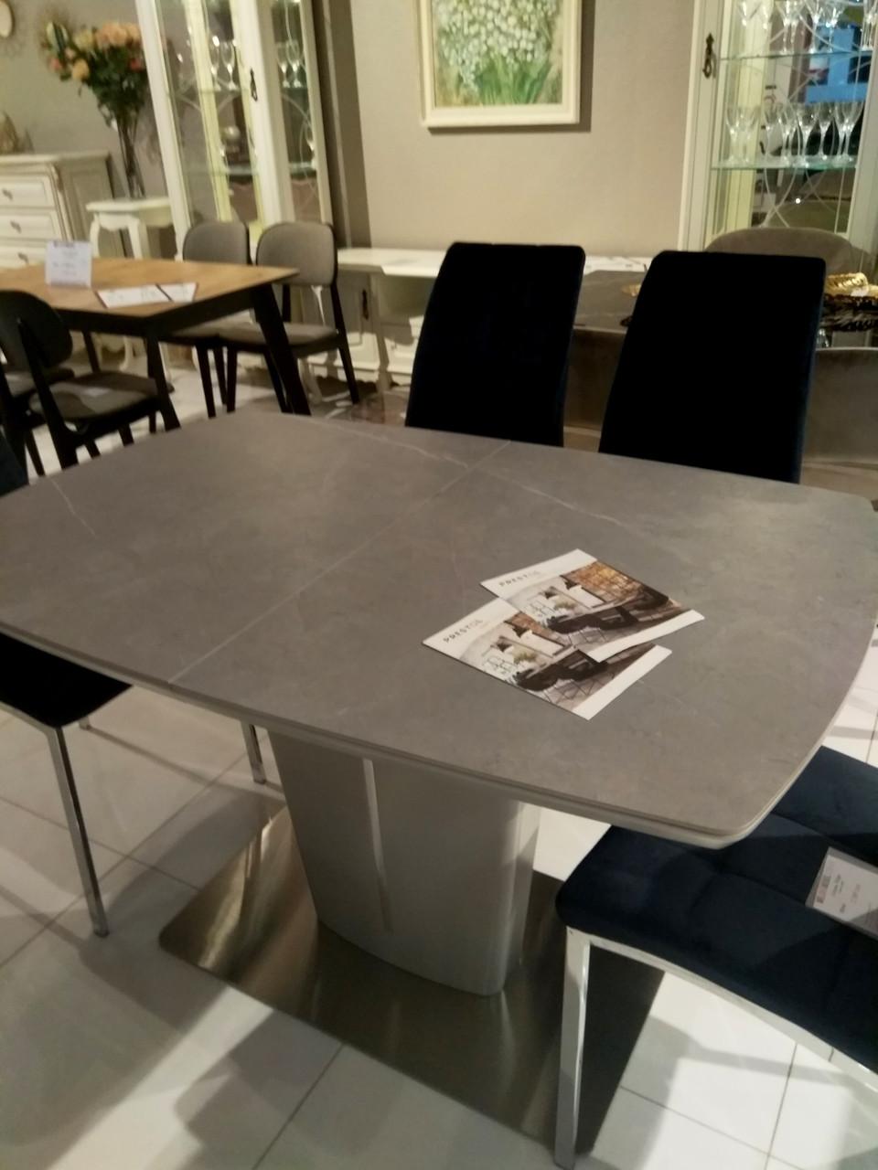 Обідній стіл Адам сіра кераміка 120/160 від Prestol, малюнок мармур