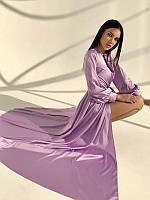 Жіноче Плаття Довге Шовкове Бузкове, фото 1