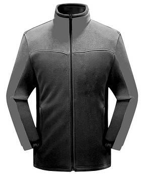 Мужская флисовая кофта черного цвета  с серой вставкой XS