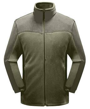 Мужская флисовая кофта серого цвета  с зеленой вставкой XS