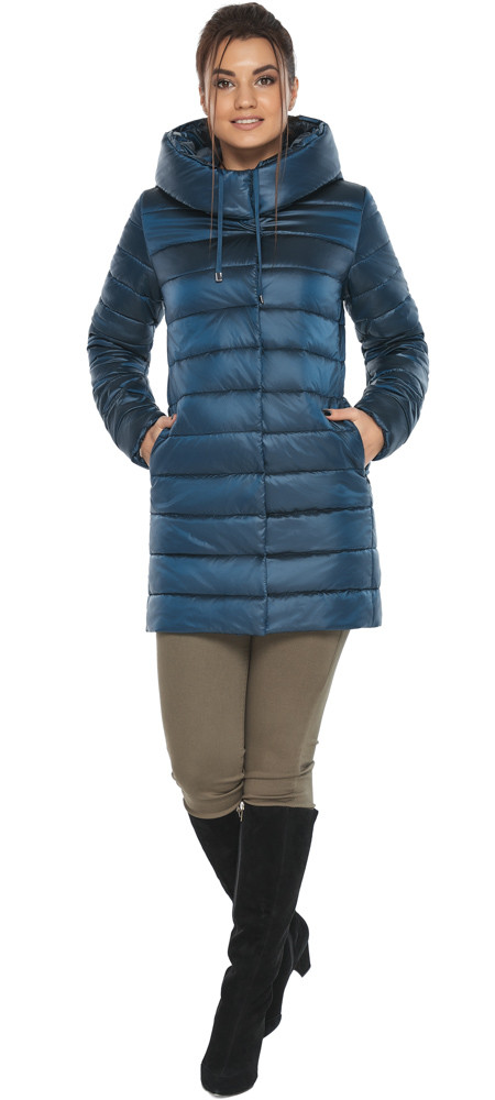 Куртка на блискавці жіночі осінньо-весняна колір темна блакить модель 65085
