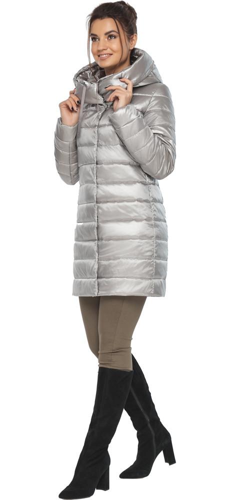 Куртка фирменная женская осенне-весенняя цвет перламутровый светло-серый модель 65085