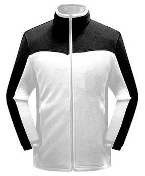Мужская флисовая кофта белого цвета  с черной вставкой XS