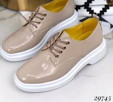 Бежеві натуральне туфлі на шнурівці NINA_MI