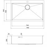 Кухонная мойка из нержавеющей стали 790x505 мм. AquaSanita LUN100M, фото 2