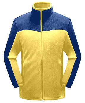Чоловіча флісова кофта жовтого кольору з синьою вставкою XS