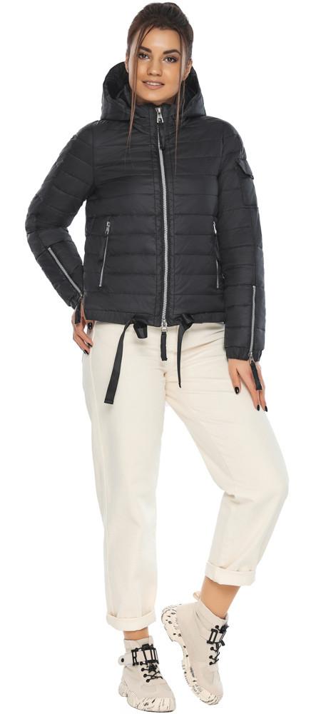Практична куртка жіноча осінньо-весняна чорна модель 62574