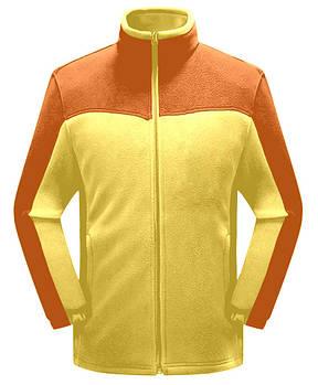 Мужская флисовая кофта желтого цвета с оранжевой  вставкой XS