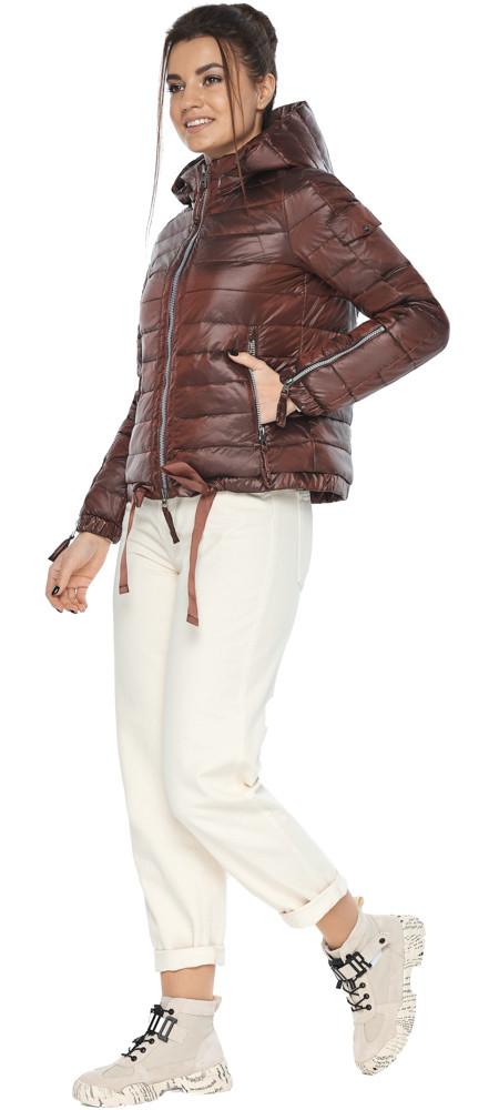 Удобная куртка женская каштановая осенне-весенняя модель 62574