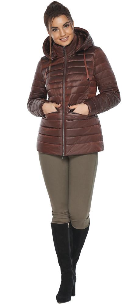 Куртка с брендовой фурнитурой каштановая женская осенне-весенняя модель 63045