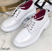 Жіночі туфлі на шнурівці шкіряні в білому кольорі NINA_MI