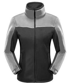 Женская флисовая кофта черного цвета  с серой вставкой XS
