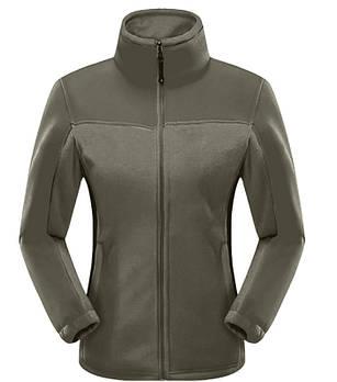 Женская флисовая кофта серого цвета  с зеленой  вставкой XS