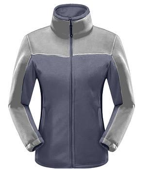Женская флисовая кофта синего цвета  с серой вставкой XS