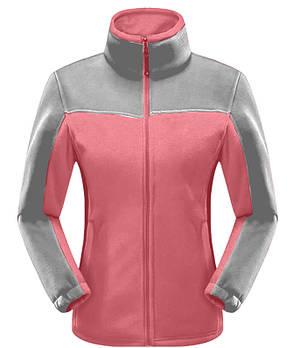 Женская флисовая кофта розового цвета  с серой вставкой XS