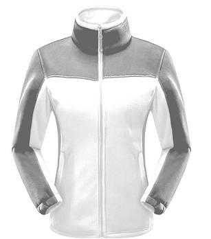 Женская флисовая кофта белого цвета  с серой вставкой XS