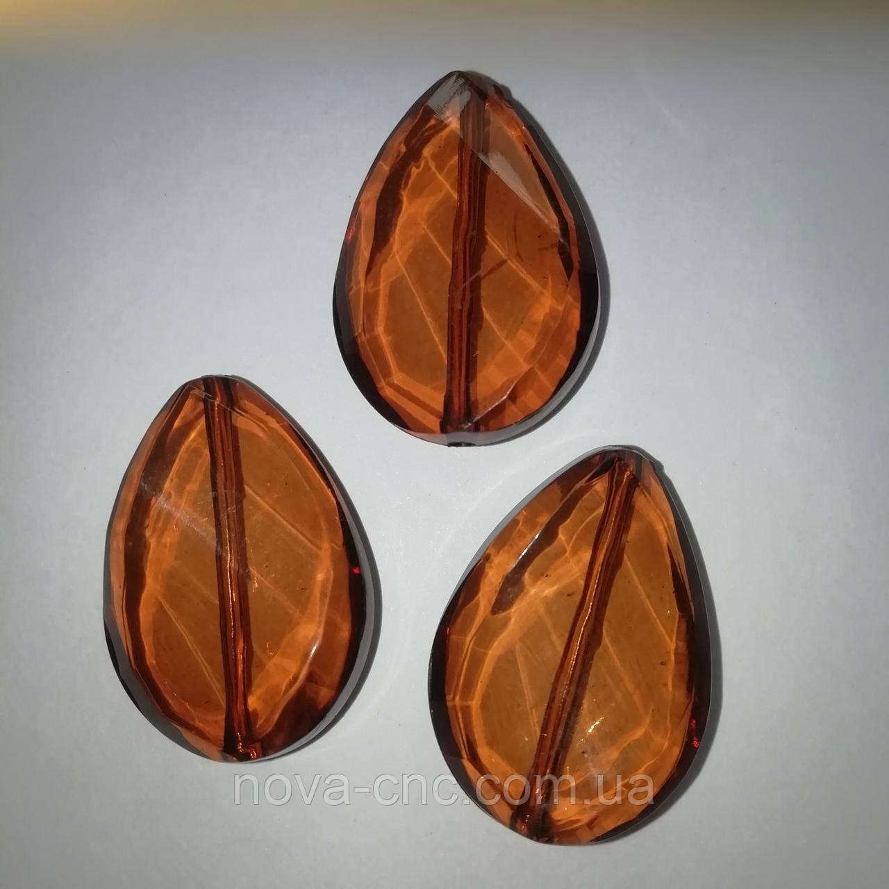 Намистини акрил колір коричневий 36 х 25 мм 65 штук