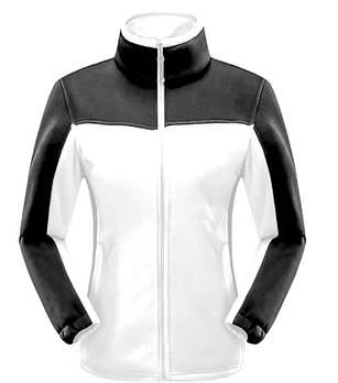 Женская флисовая кофта белого цвета  с черной  вставкой XS