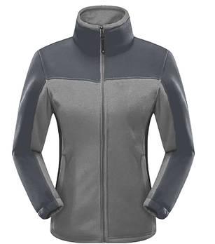 Женская флисовая кофта серого цвета  с темно серой вставкой XS
