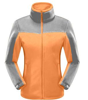 Женская флисовая кофта оранжевого  цвета  с серой вставкой XS