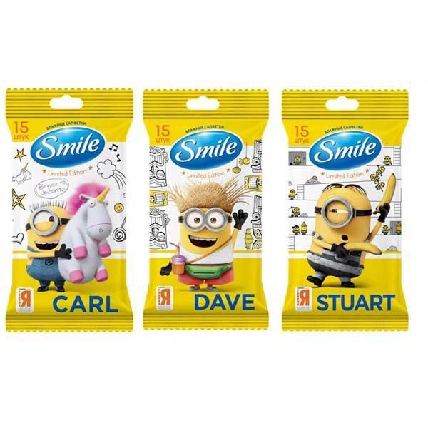 Влажные салфетки Smile Minions Stuart с еврослотом 15 шт (4823071628005)