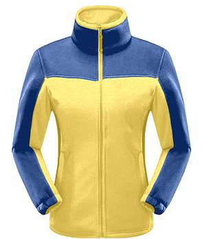 Женская флисовая кофта желтого цвета  с синей вставкой XS