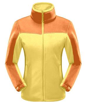 Жіноча флісова кофта жовтого кольору з помаранчевими вставками XS