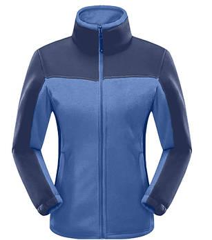 Женская флисовая кофта голубого цвета  с синей вставкой XS