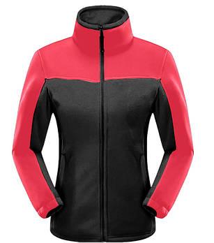 Женская флисовая кофта черного цвета  с красной вставкой