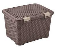 Ящик для хранения пластиковый  Ротанг коричневый 43 л 500Х400Х330 мм  Curver CR-0155