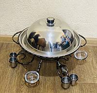 Садж для подачи шашлыка d36 + крышка + соусницы + рюмки