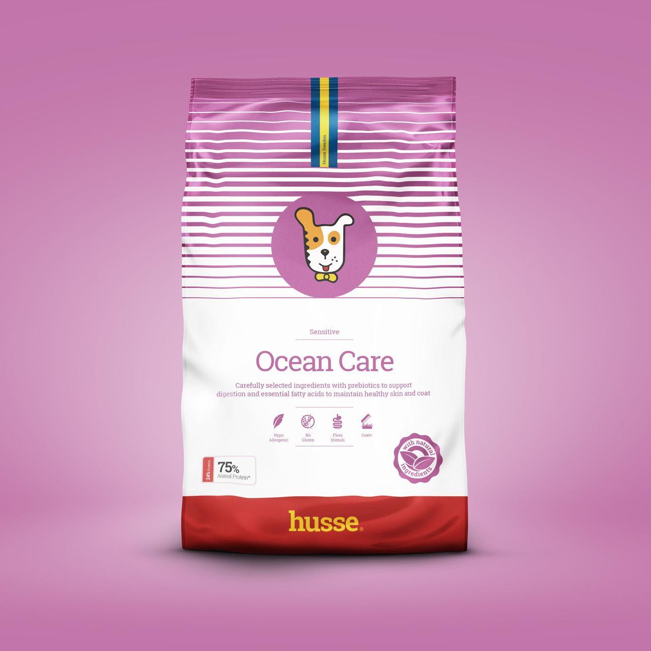 Сухой корм для собак  с лососем шведский 12.5 кг Husse Ocean Care Sensitive