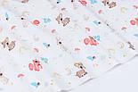 """Ранфорс шириной 240 см с принтом """"Мини косули, зайцы, белки и мухоморы"""" на белом (№3383), фото 2"""