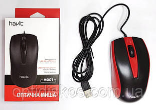 Проводная мышь HAVIT MS871 USB Красная / Red