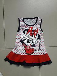Платье с коротким рукавом на широкой бретели для девочки , с рисунком Морячка,  х/б, Лиза текс  (размер