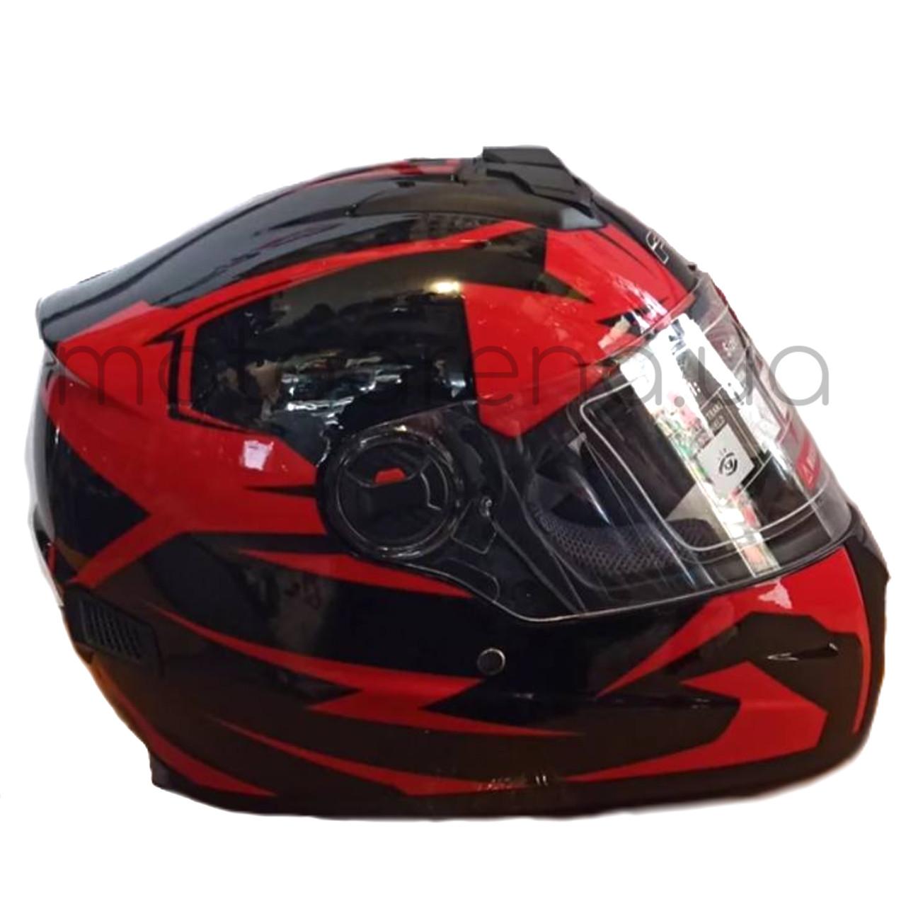 Шлем F2 чёрно-красный(глянцевый) с очками