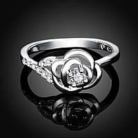 Кольцо роза циркон покрытие 925 серебро разные цвета