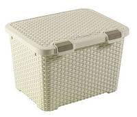 Ящик для хранения пластиковый  Ротанг кремовый 43 л 500Х400Х330 мм  Curver CR-0155-1