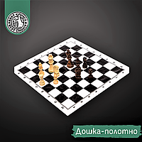 Шахматный набор дорожный ZELART Фигуры деревянные С полотном PVC Коричневый-белый (301P)