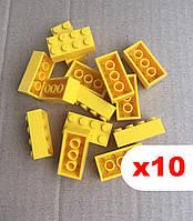 Кубики 2х4 пина, аналог Лего, Lego Classic (желтый) 10 шт