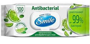 Влажные салфетки Smile Antibacterial с лаймом 100 шт (4823071636741)