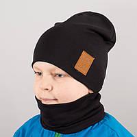 """Детская шапка с хомутом КАНТА """"Лапка"""" размер 52-56 черный (OC-127)"""
