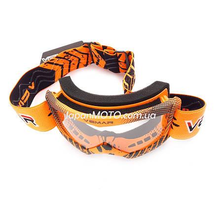 Очки кроссовые детские VEMAR VM-1018, оранжевые, визор безцветный, фото 2