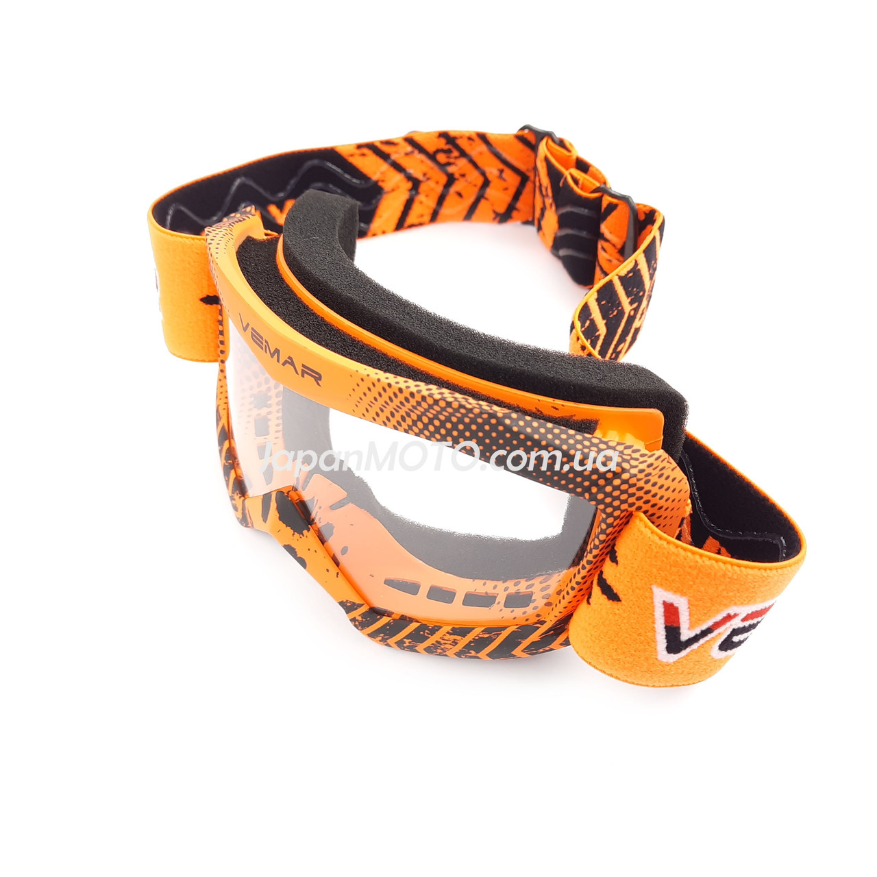Очки кроссовые детские VEMAR VM-1018, оранжевые, визор безцветный