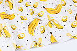 """Ранфорс шириною 240 см з принтом """"Банани"""" на білому (№3388), фото 4"""