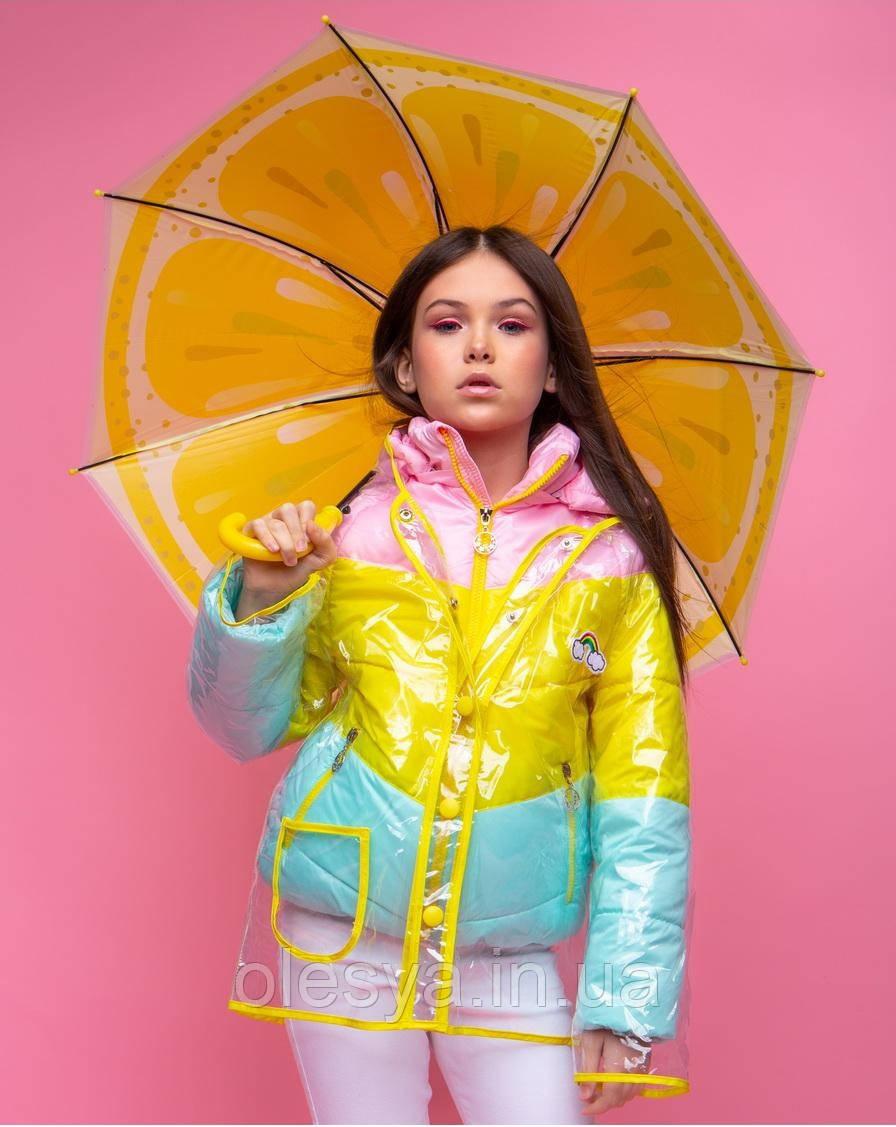 Демисезонная куртка с дождевиком для девочки Размеры 128 134 140