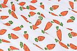 """Ранфорс шириною 240 см з принтом """"Морквинки з очима"""" на білому (№3389), фото 2"""
