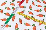 """Ранфорс шириною 240 см з принтом """"Морквинки з очима"""" на білому (№3389), фото 4"""